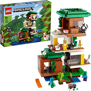 LEGO 21174 Minecraft The Modern Treehouse - Dollhouse Toy for Kids, Collectible Model with Creeper Figure