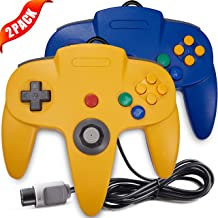 LUXMO N64 Controller,Classic N64 Game Controller Wired N64 Gamepad Joystick Joypad for Retro N64 Video Console Games System (2 Pack Yellow+Blue)