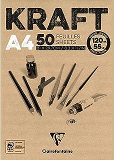 Clairefontaine 975815C Bloc Encollé Papier Kraft - 50 Feuilles Papier Kraft Vergé Brun A4 21x29,7 cm 120g - Papier Double ...
