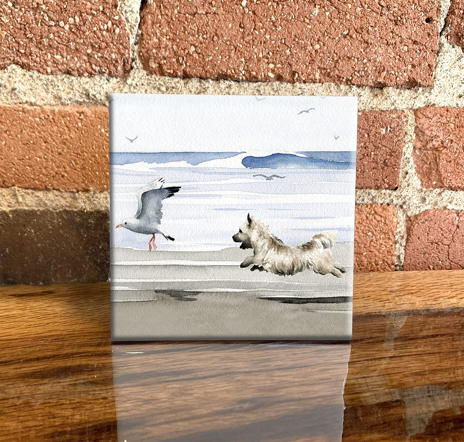 Cairn Terrier Beach Watercolor Dog Max 81% OFF Art Tile Manufacturer direct delivery 4.25 4 X Decorative