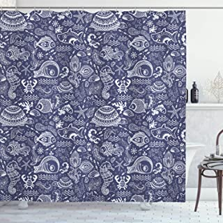 Ambesonne Under The Sea Shower Curtain, Ocean Animals Shells Plants Seahorse Turtle Fishing Theme Artwork Print, Cloth Fabric Bathroom Decor Set with Hooks, 70