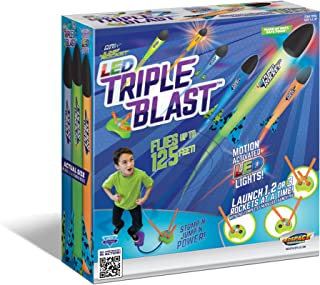 Geospace Jump Rocket LED Triple Blast with Launch Pad and 3 Foam Rockets; great for glow in the dark outdoor play
