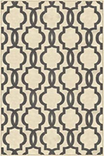 "Kapaqua Rubber Backed 3'4"" x 5' Fancy Moroccan Trellis Ivory & Grey Area Non-Slip Rug - Rana Collection Kitchen Dining Living Hallway Bathroom Pet Entry Rugs RAN204CRM-35"