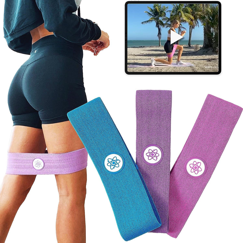 Sports Laboratory Cintas Elásticas Musculación Hombre/Mujer- Pack x3 Bandas Elásticas - 3 Niveles de Resistencia - Ideal para Ejercitar Glúteos - Incluye Bolso y Guía de Ejercicios