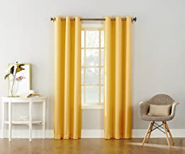 """No. 918 Montego Casual Textured Grommet Curtain Panel, 48"""" x 63"""", Yellow"""