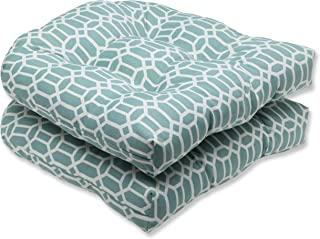 """Pillow Perfect 535487 Outdoor/Indoor Rhodes Quartz Tufted Seat Cushions (Round Back), 19"""" x 19"""", Blue, 2 Pack"""