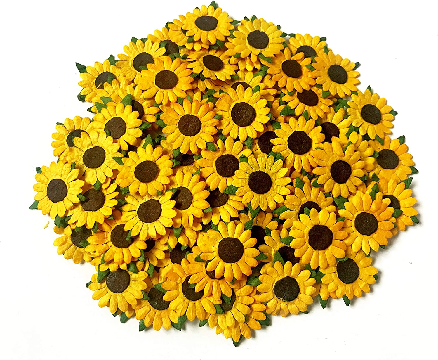 TH 50 Tiny Sunflowers Mulberry Supplies In a popularity Bombing free shipping Paper Craft Scrapbook Ca