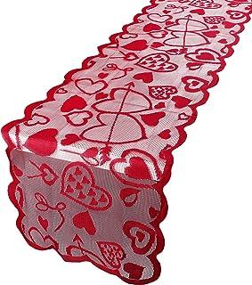 BHGT Chemin de Table Saint Valentin Chemin de Table Amour Rouge 33x183cm Linge de Table Décoration de Mariage (Style B)