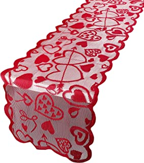 BHGT Chemin de Table Saint Valentin Chemin de Table Amour Rouge 33x183cm Linge de Table Décoration de Mariage (Style B)