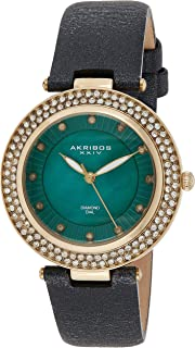 Akribos XXIV Women's Quartz Diamond, Crystal, & Mother-of-Pearl Tone & Champagne Leather Strap Watch