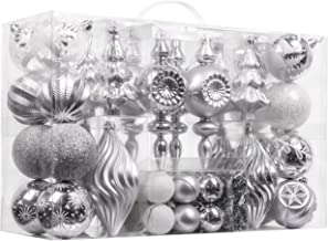 Valery Madelyn 70ct Frozen Winter Shatterproof Christmas Ball Ornaments Decoration Silver White, 1.57-5.9 Inch, Themed with Tree Skirt (Not Included)