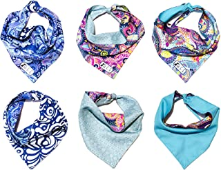 B&F 3 Pack Reversible Dog Bandana 3 Pieces - 6 Looks, Machine Washable Handmade pet Accessories. Scarves for Small, Medium,and Large Dogs. Mod. Paisley
