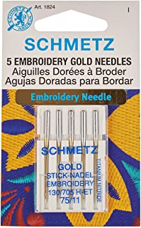 Schmetz 1824 Embroidery Needles, 11/75, Pack of 5, Gold