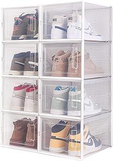 Meerveil Lot de 8 Boîtes à Chaussures Empilable, Rangement Boite Chaussure en Plastique avec Porte, 36 * 28 * 21cm, Facile...