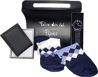 Accesorizate | Pack Regalo día del Padre, Regalo cumpleaños Padres, Regalo Original para el día del Padre, Incluye Cartera de Piel, Reloj y 2 Pares de Calcetines a Elegir (Blanco y Azul Claro)