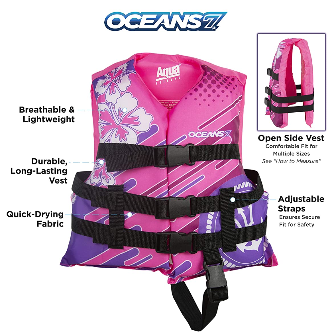 New & Improved Oceans7 US Coast Guard Approved, Child Life Jacket, Flex-Form Chest, Open-Sided Design, Type III Vest, PFD, Personal Flotation Device, Pink/Berry