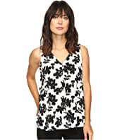 Vince Camuto - Sleeveless Small Fresco Blooms Drape Front Blouse