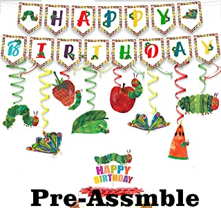 The Very Hungry Caterpillar Birthday Decorations Set - Kids Reading Story Theme Swirls Streamers Garland Banner and Cake T...