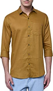 jugend Green Cotton Full Sleeves Slim fit Solid Casual Shirts for Men