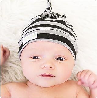 Woombie Cotton Double Knot Beanie Hats, Black/Gray Stripe, 0-6m