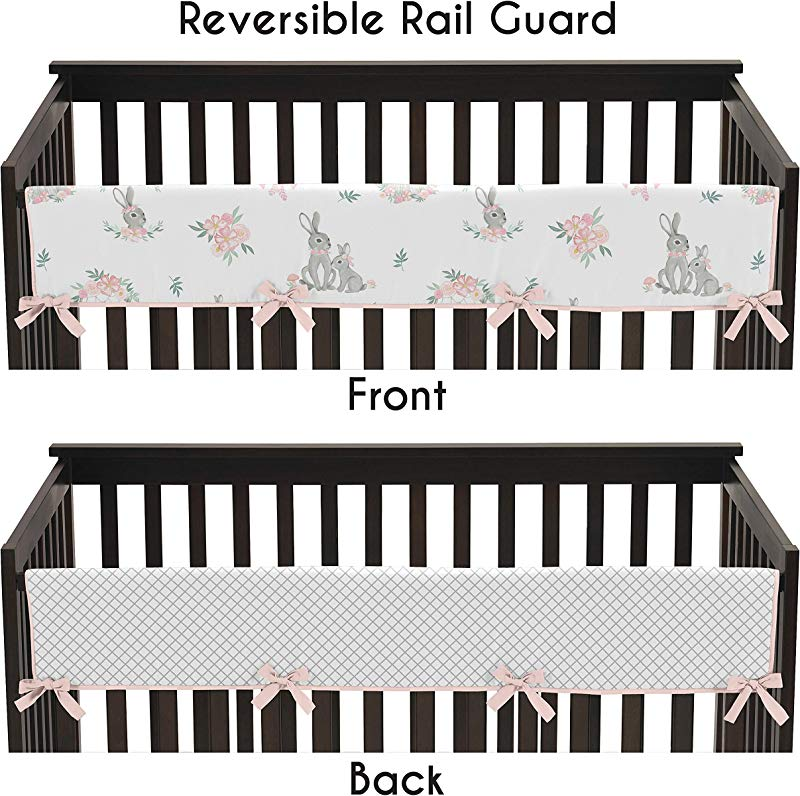 Sweet Jojo Designs Blush Pink And Grey Woodland Boho Dream Catcher Arrow Girl Long Front Crib Rail Guard Baby Teething Cover Protector Wrap For Gray Bunny Floral Collection Watercolor Rose Flower