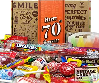 VINTAGE CANDY CO. 70TH BIRTHDAY RETRO CANDY GIFT BOX - 1949 Decade Nostalgic Childhood Candies - Fun Gag Gift Basket for Milestone SEVENTIETH Birthday - PERFECT For Man Or Woman Turning 70 Years Old
