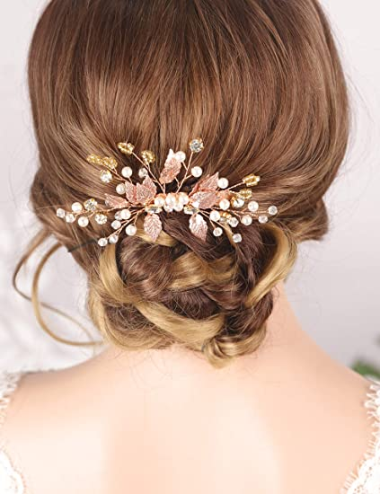 Rose Gold Bridal Hair Pin of Crystals and Leaves Wedding Accessory Hair Piece