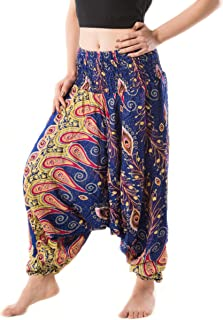 Women's Peacock Print Aladdin Harem Hippie Pants Jumpsuit