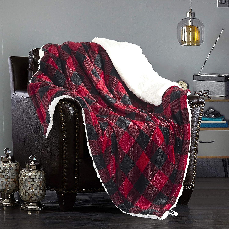 ELLE 公式ショップ HOME Plush Sherpa Throw Blanket Flannel Reversible 品質検査済 - Fleece