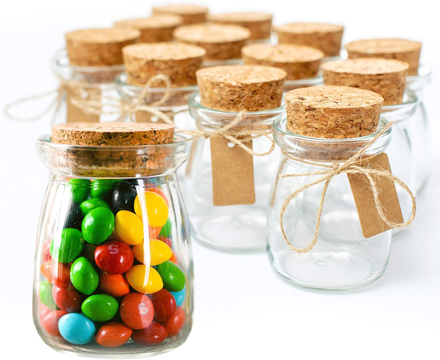 Otis Classic Small Glass Jars with Lids – Set of 20 Mini Honey Jars with  Corks for Wedding & Party Favors, Apothecary, DIY Crafts, Candy, Pudding &  ...