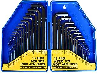 S&R Sexkantig nyckeluppsättning (30 st.) Metrisk & Imperial - 0,7-10 mm & 0,028 till 3/8 tum, sexkantsnycklar i plastlåda,...