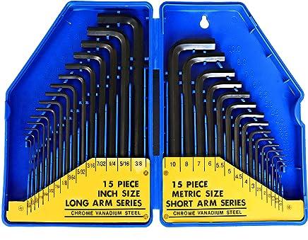 S&R Innensechskantschlüssel Satz HX, 30-tlg. 0,7-10 mm, metrisch und 0,028 bis 3/8, Zoll, in Kunststoffbox