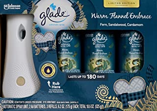 Glade Warm Flannel Embrace Sandalwood, 3 Refills and 1 Automatic Spray Unit