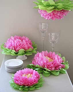 Butterfly Craze Girls Party Decorations - Set of 7 Tissue Paper Flowers … (Light Pink)