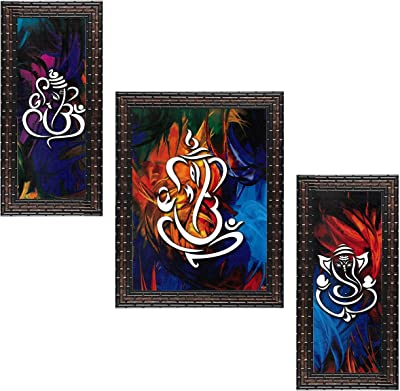 Indianara Set of 3 Lord Ganesha Framed Art Painting (3710GB) without glass 6 X 13, 10.2 X 13, 6 X 13 INCH