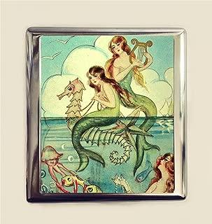 Mermaid Harps Cigarette Case Business Card ID Holder Wallet Seahorse Art Deco Illustration Nautical
