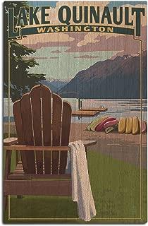 Lantern Press Lake Quinault and Adirondack Chairs - Washington (12x18 Wood Wall Sign, Wall Decor Ready to Hang)