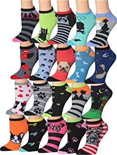 Women's 20 Pairs Colorful Patterned Low Cut/No Show Socks