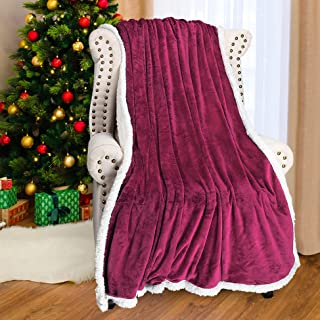 Catalonia Sherpa Throws Blanket,Super Soft Comfy Fuzzy Micro Fleece Plush Snuggle Blanket All Season for Couch Bed or TV 50
