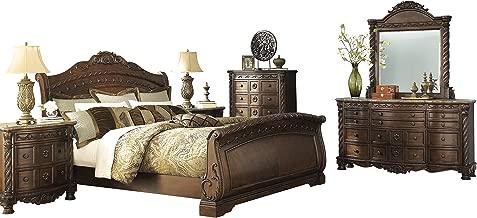 Ashley North Shore 6PC Bedroom Set Queen Sleigh Bed Dresser Mirror Two Nightstand Chest in Dark Brown