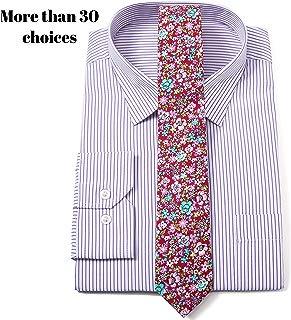 Men Cotton Skinny Floral Print Tie Pocket Square Set for Special Event, Party, Wedding …