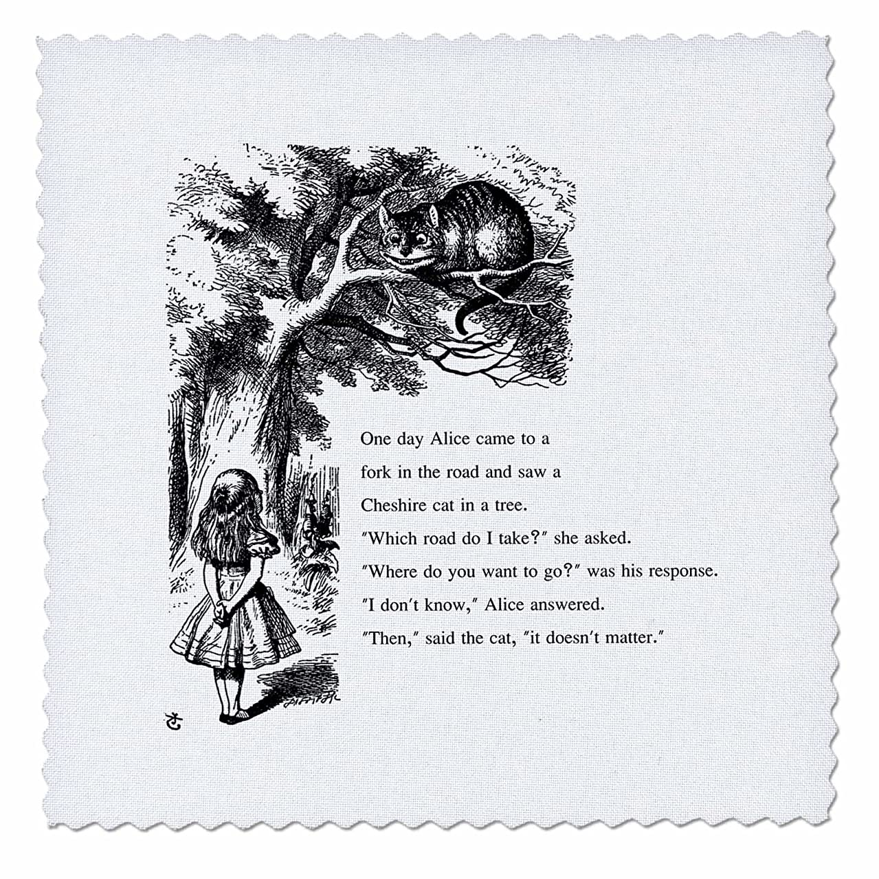 3dRose qs_193782_1 Which Road Do I Take Cheshire Cat Alice in Wonderland-John Tenniel-Quilt Square, 10 by 10-Inch