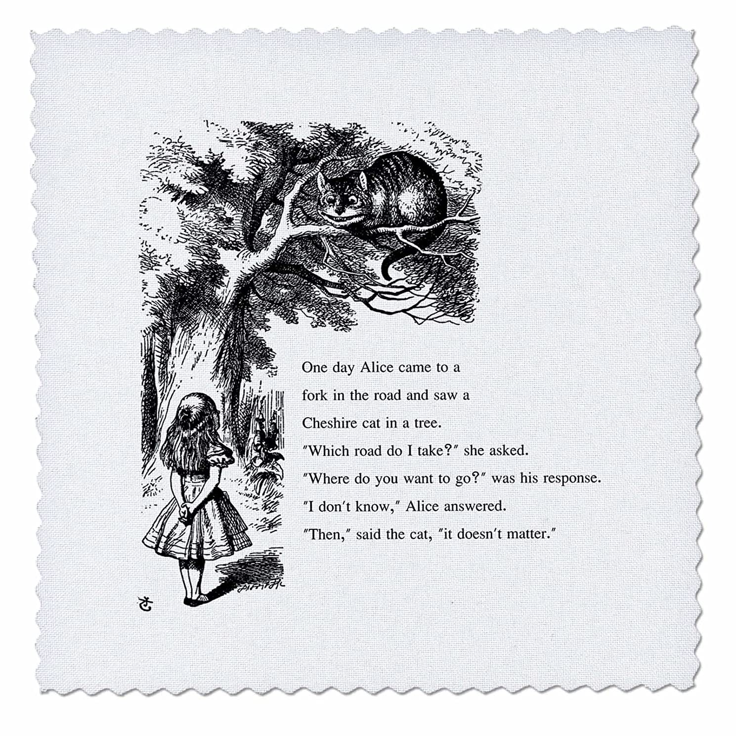 3dRose Which Road Do I Take Cheshire Cat Alice in Wonderland - John Tenniel - Quilt Square, 12 by 12-Inch (qs_193782_4)
