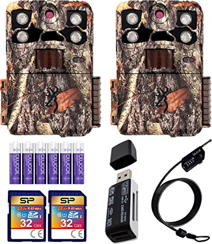 new arrival Browning BTC-7E-HP4 Recon Force Elite HP4 Trail Cameras (2-Pack) Bundle popular with 32GB SDHC high quality Memory Cards (2-Pack), Blucoil 6 AA Batteries, 6.5-FT Combination Cable Lock, and USB 2.0 Card Reader online