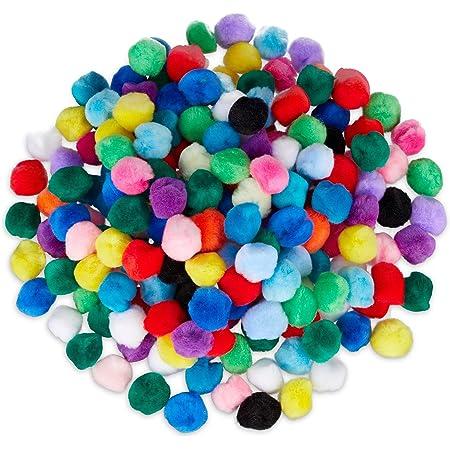 Relaxdays 10024347 Pompons colorés loisirs créatifs boules DIY décoration 2 cm set de 200 anniversaire mariage, multicoloré