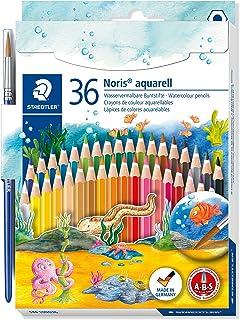 STAEDTLER pastelli colorati Noris Aquarell, confezione da 36 colori a matita acquerellabili, mine resistenti, pennello inc...