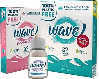 Wave Washing Family Box – El Detergente en Hojas – 100% LIBRE DE PLÁSTICO – 64 lavados – Classic & Sensitive + Wave Perfum...