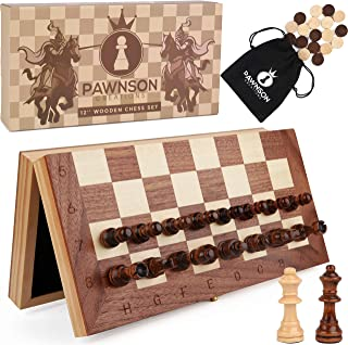 Magnetic Wooden Chess Checkers Set for Kids and Adults - 12 Staunton Chess Set - Travel Portable Folding Chess Board Game ...