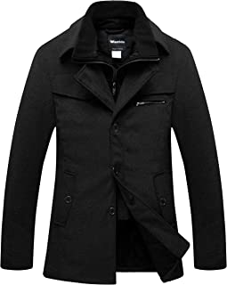 Men's Wool Blend Pea Coat Windproof Thick Winter Jacket with Quilted Bib