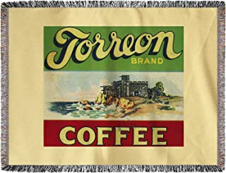 Lantern Press Torreon Coffee Label 2303 (60x80 Woven Chenille Yarn Blanket)
